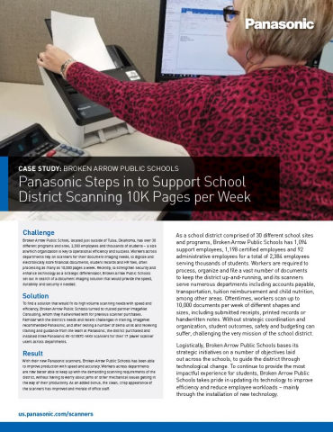 KV-S1057C Scanner at Broken Arrow Schools Case Study